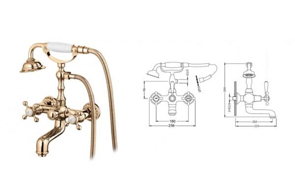 K13001G смеситель GERHANS для ванны (180 мм установочное рассттояние!!!) кран-буксы