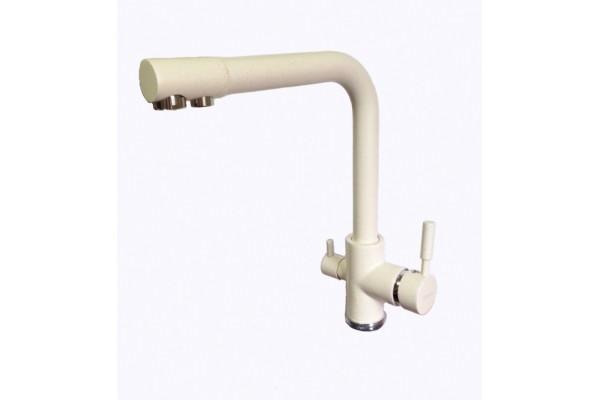 HU01K4055-3-18 смеситель для кухни с вых.на питьев.воду БЕЛЫЙ